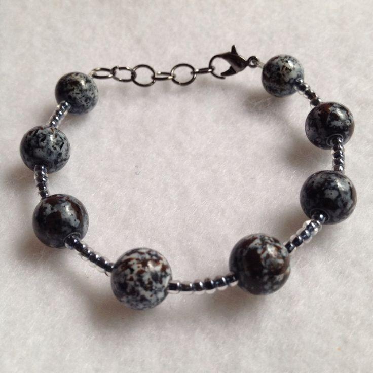 Marble Print Beaded bracelet @ www.raescraft.com