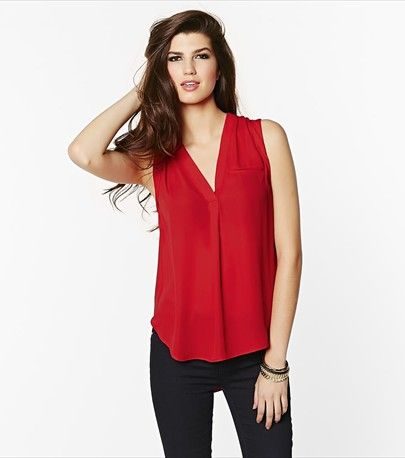 All eyes on this red blouse!