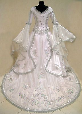 SILVER MEDIEVAL WEDDING DRESS VICTORIAN GOTH LARP S-M-L 10-12-14-16 X-MAS ROBE