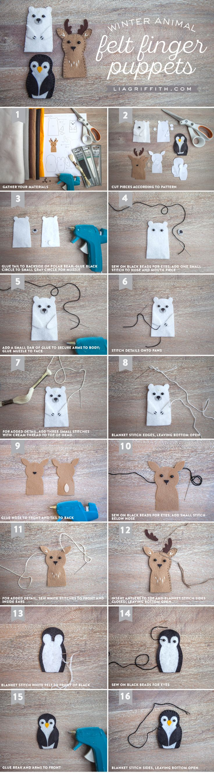 Make an adorable set of animal felt finger puppets with these printable patterns and tutorial from handcrafted lifestyle expert Lia Griffith.Nx