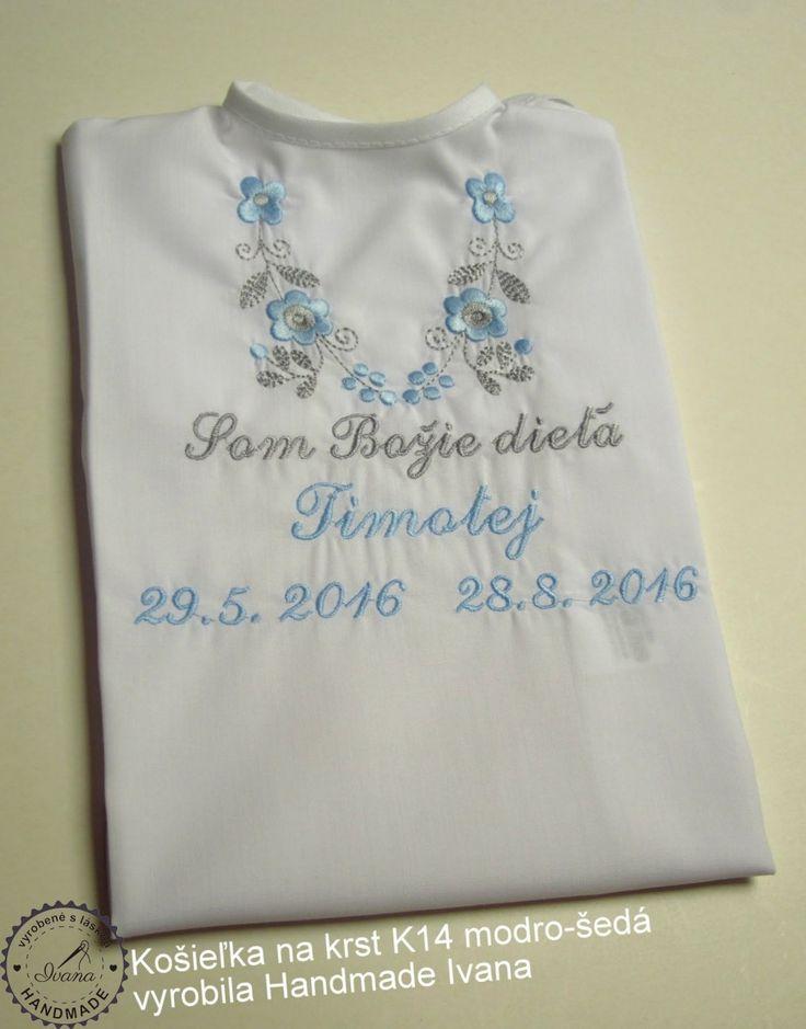 Košieľka na krst k14 bavlna biela, modro-šedá výšivka