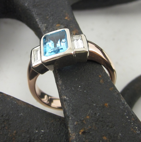 Blue Topaz and Diamond Ring | Geoff Taylor Goldsmith