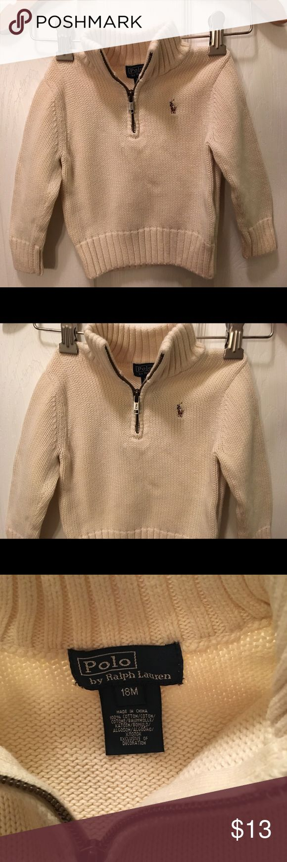 Polo Ralf Lauren toddler boys sweater sz18mo Polo Ralf Lauren toddler boys sweater size 18 months. Pullover half zip knit sweater with mock collar. Ivory in color. Logo on front. Polo by Ralph Lauren Shirts & Tops Sweaters
