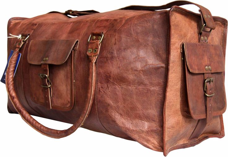 20 Inch/inches Pure Genuine Handmade Soft Leather Duffle/Duffel Bag Overnight cabin sports gym Handbag /bags for weekend/picnic Travel bag. $89.00