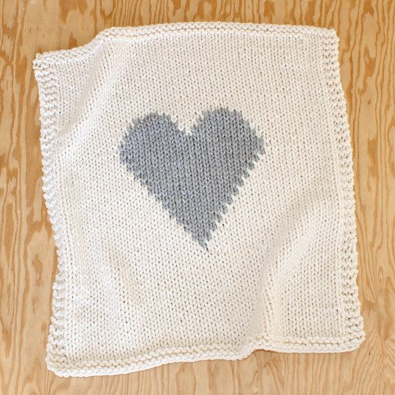 Baby Blanket Heart Cream and Grey, Baby Blanket Knitted for Bassinet, Baby Sh...