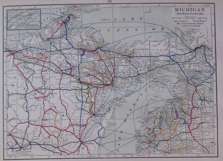 1915 Antique Michigan State Map Railroads Uncommon Original Map of Michigan 4389