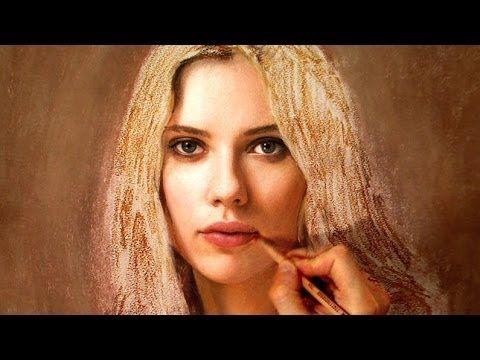 Scarlett Johansson Drawing Art Portrait Video ( black widow / lucy ) - YouTube