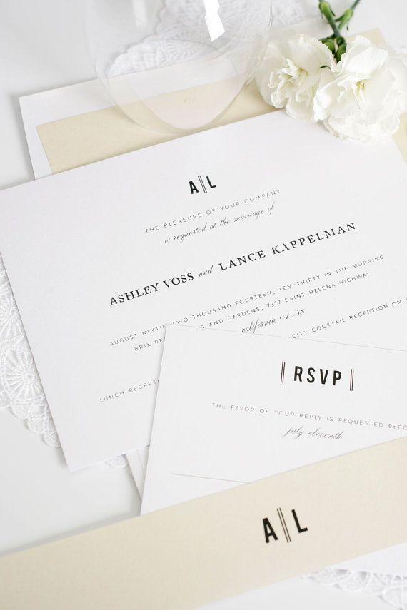 Champagne Wedding Invitations - Modern, Vintage, Classic, Block Font - Neutral…