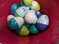 Fraction Activity w/ mixed numbers - Each student wrote a mixed number on one side of the egg and the improper fraction on the other.  The kids decided that the two egg pieces should be different colors so that no one would cheat and just match up colors.  (I love how they think)  I then had them put their class number on both pieces on the inside so they can self-check.