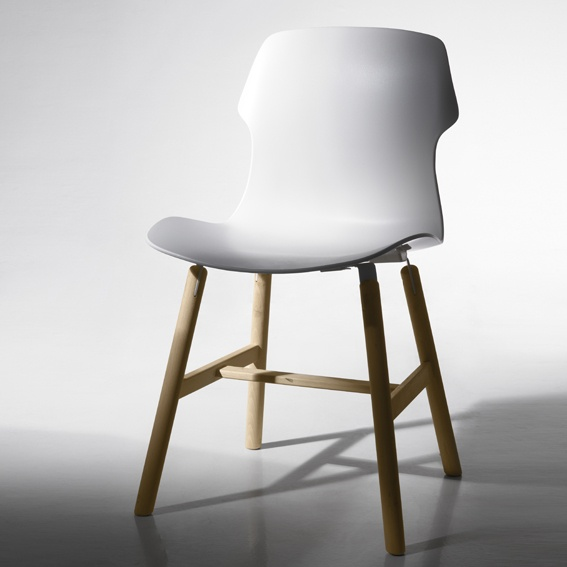 White and timber dining chair