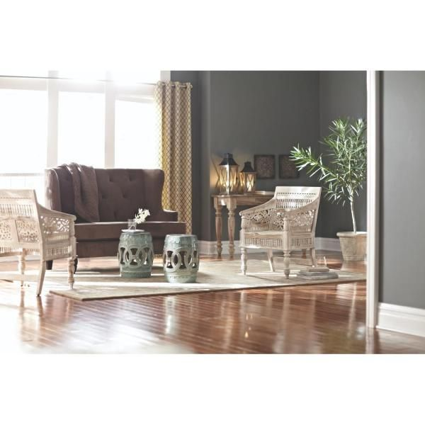 Maharaja Collection In Sandblasted White Home Decor The Home Depot Carved Arm Chair Home Decor Home