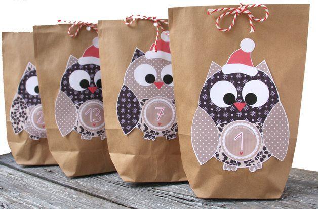 Adventskalender - Adventskalender Eulen Set 24 Geschenktüten DIY ... - ein Designerstück von einfachschoen-shop bei DaWanda