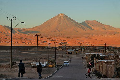 Sunset over Volcan Licancabur, San Pedro de Atacama, Chile