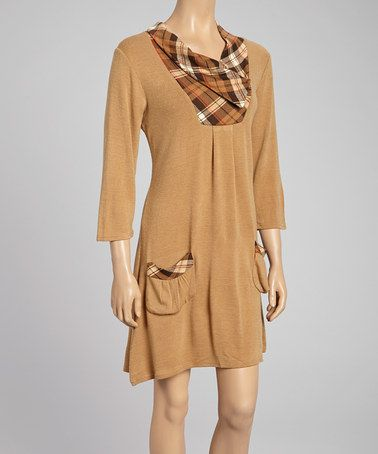 Take a look at this Brown & Red Plaid Accent Cowl Neck Dress by Reborn Collection on #zulily today!