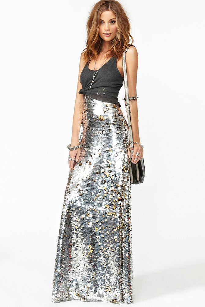 #Silver #sparkle #glitter #sequins #long #gown #dress #NewYearsEve  paired with casual top