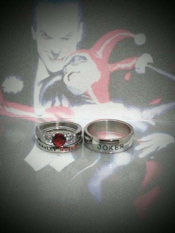 Harley Quinn and Joker Rings Black Diamond CZ von LawrenceCustoms