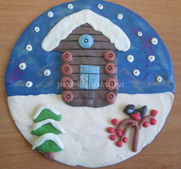 Пластилинография на тему: Зима для детей 1 - 2 класса