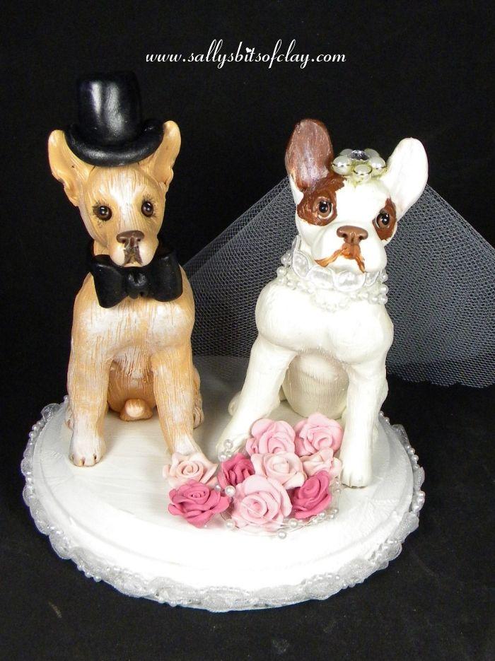Chihuahua And French Bulldog Wedding Cake Topper