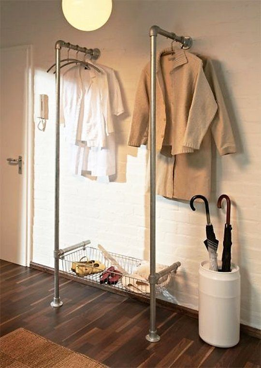 5 Unusual & Modern Ways to Display Your Clothes at Home - Industrial pipe is a favorite material to use for DIY projects due to its affordability and its durability. We love this idea we spotted on Instructables that combines hanging area and a basket for shoes. Laundry. Entrance hall.