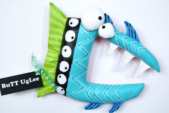FisH Named RoXi ... GirLs NighT OuT SerieS ... Ocean Blue ... lime green ... bright pink ... stripes fangs... team posh nursery