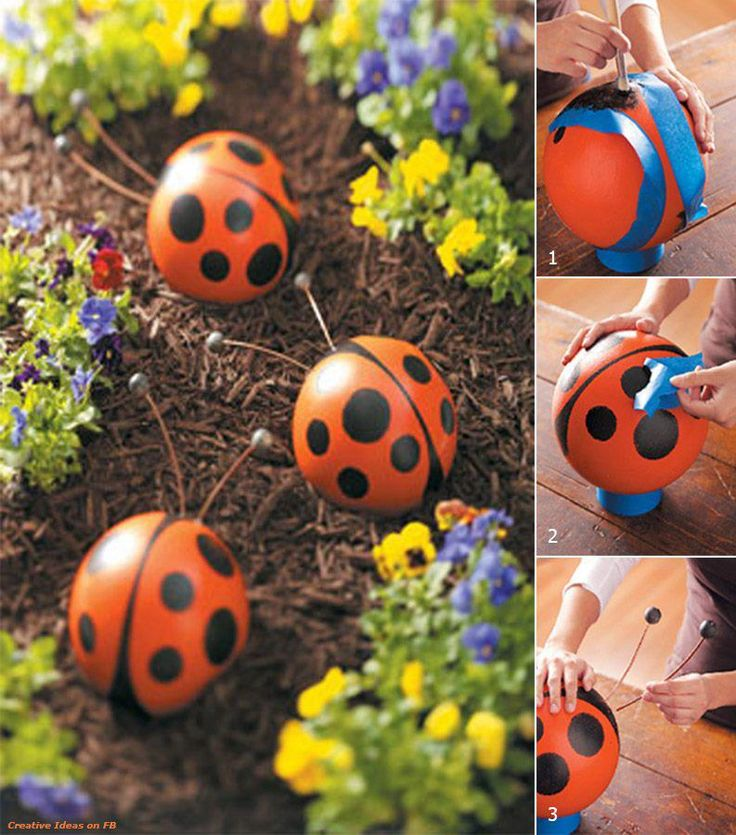A little whimsy with ladybugs on the pathway.  Not sure what the base is, probably a large rubber child's ball, which would make it durable outside.  This would also be a cute idea for molded concrete stepping stones.