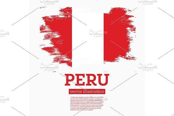 #Peru #Flag with #Brush #Strokes. by Igor Sorokin on @creativemarket