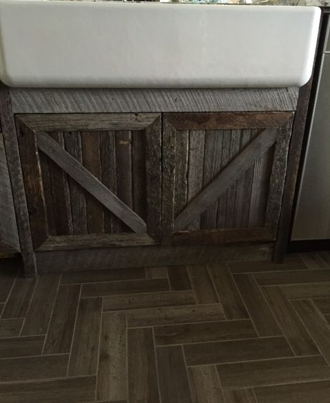Barn wood cabinet fronts.