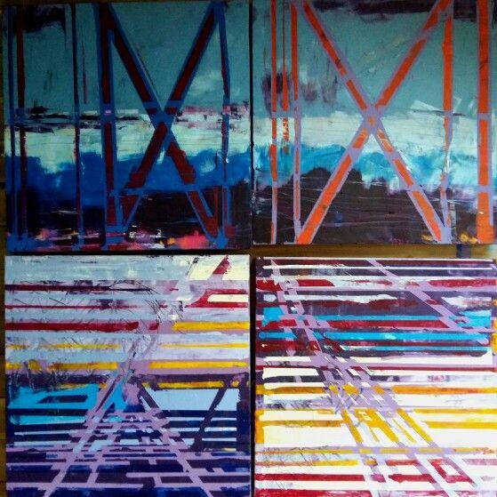 Liz Doyle Fence series 5, 6, 7, 8 4 canvases each 80cm sq www.donegallizdoyle.com  2015