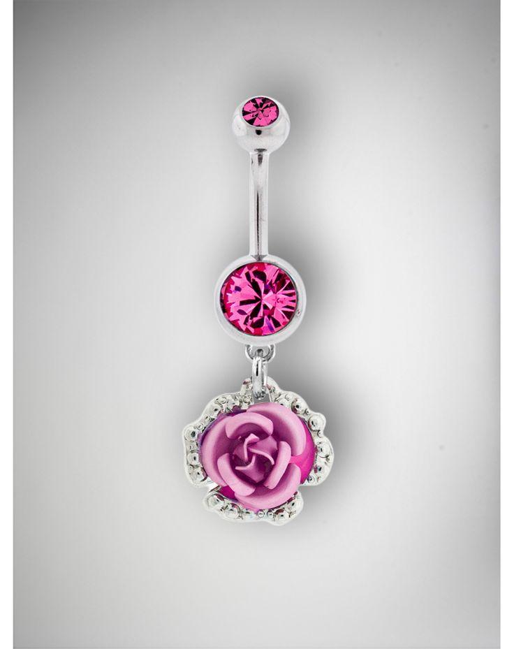 14 Gauge Pink Gem Rose Belly Ring