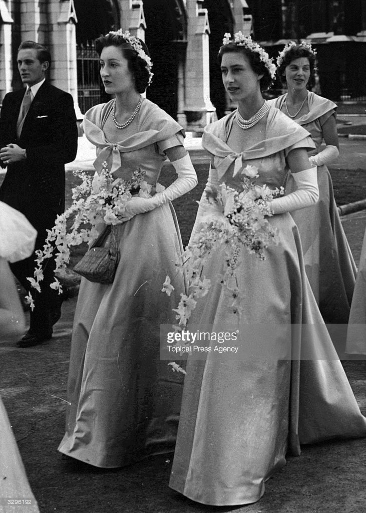 Princess Margaret Rose (1930 - 2002), as a bridesmaid at the wedding of Margaret Elphinstone, a niece of the Queen's, and Denys Rhodes at St Margaret's, Westminster, London.