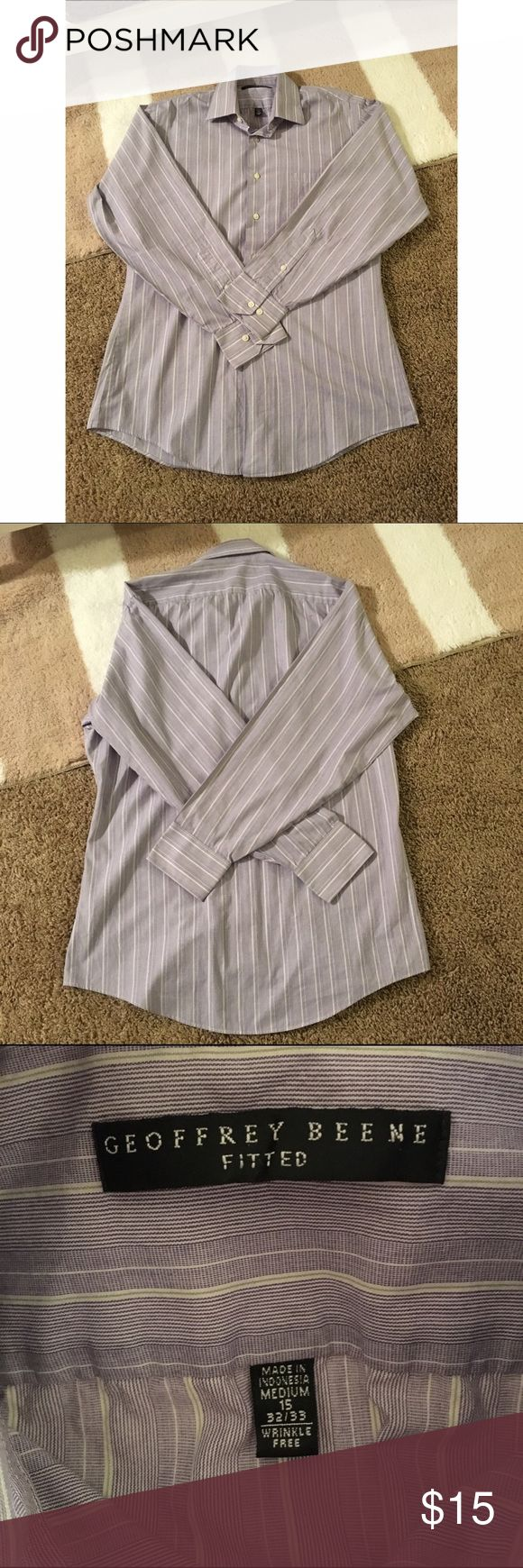 Men's Geoffrey Beene fitted button up Size is medium. Shirt is in excellent used condition! Fitted style. It is a light light purple with faint white stripes. Geoffrey Beene Shirts Dress Shirts