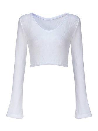 Sexy Women V-neck Flare Sleeve White Short Sweaters