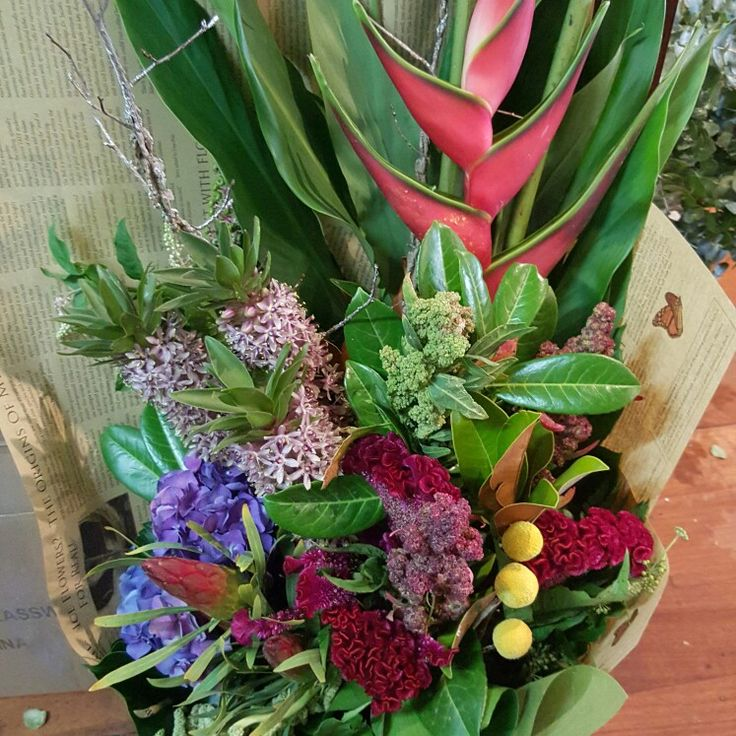 Eclectic mix bouquet including pineapple lillies, celosia and my new favorite quinoa!