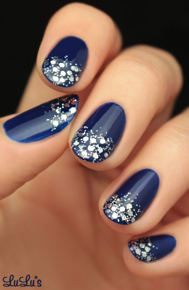 Blue And Silver Decoration Living Room: Mani Monday: Navy Blue And Silver Glitter Nail Tutorial
