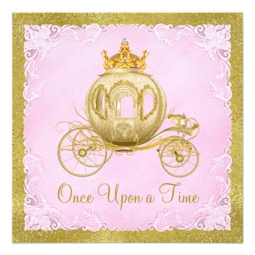 Girls Once Upon a Time Princess Carriage Birthday Invitation