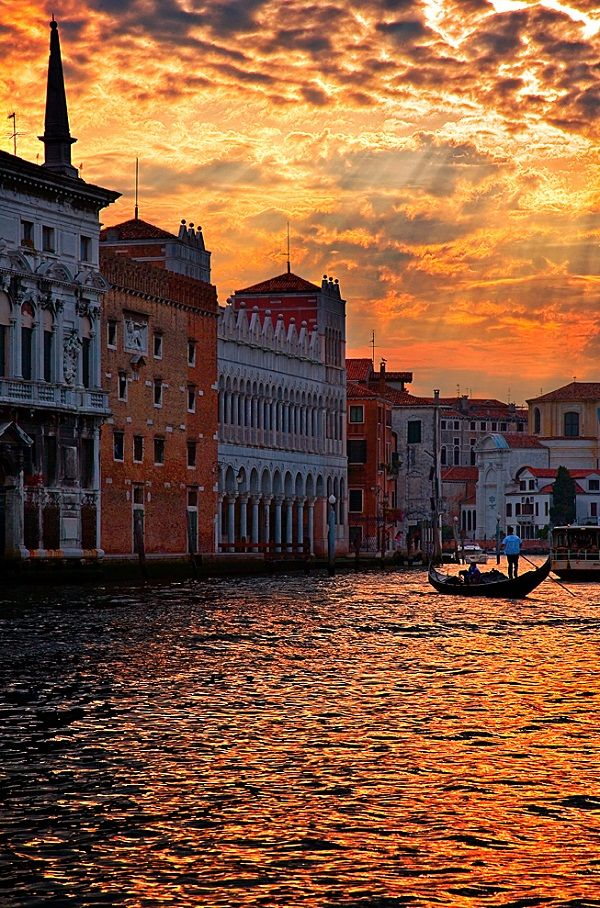 Sunset Over Grand Canal as Venice, Italy, slowly sinks under the waves .....