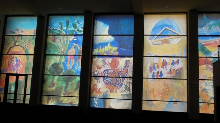 Digi glass windows in St Patrick's cathedral in Bunbury, Western Australia