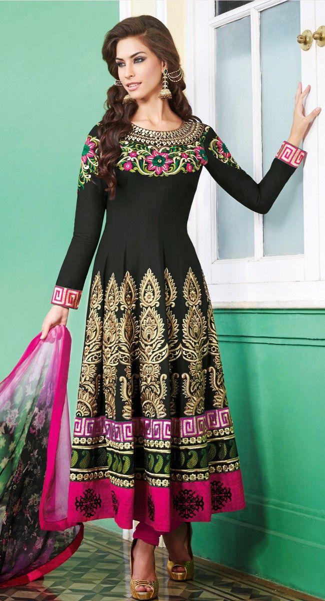 Ravishing Black & Pink Salwar Kameez $109.00