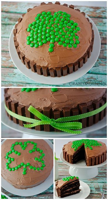 Shamrock Kit Kat Cake for a St Patrick's Day dessert! Love the green m&ms for the clover!