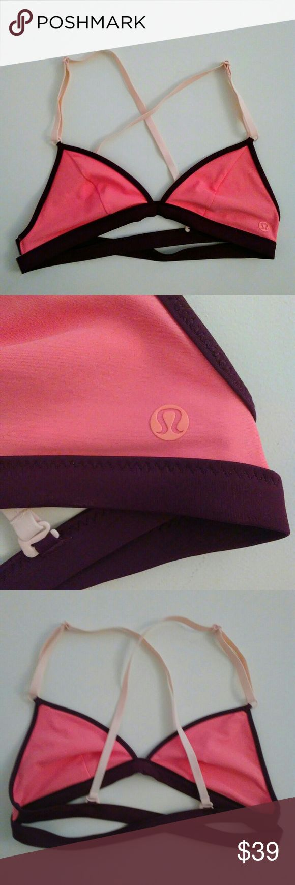 "LULULEMON?Swim?Bikini Top?Pink Surf to Sand XS LULULEMON?Swim?Bikini Top? Surf to Sand Triangle Bra?  Pink with Maroon Accent band Double Crossover Back Band? Adjustable straps can be worn in an X crossback style or in regular fashion.  Size tag has been removed. ?My best guess on size is a Lulu Size 4 which is an Extra Small. ?I believe it will best fit an A-B cup. ?Please check measurements.  Measurements laying flat: 13"" chest band 6"" from top of the triangle straight down to bottom 6.75""…"