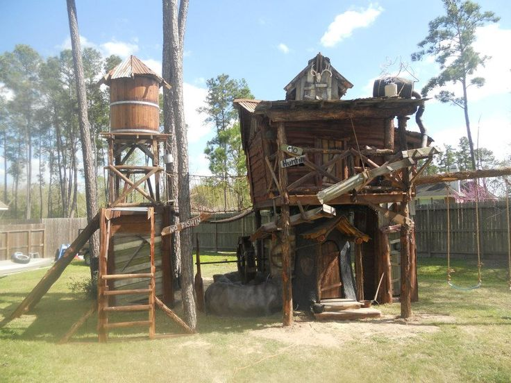 Tiny Town Studios Custom Tree House With Working Water Wheel And Pond Built  Into Concrete Tree. Tin StarWater ...