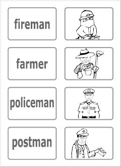 Occupations flashcards black and white dresses