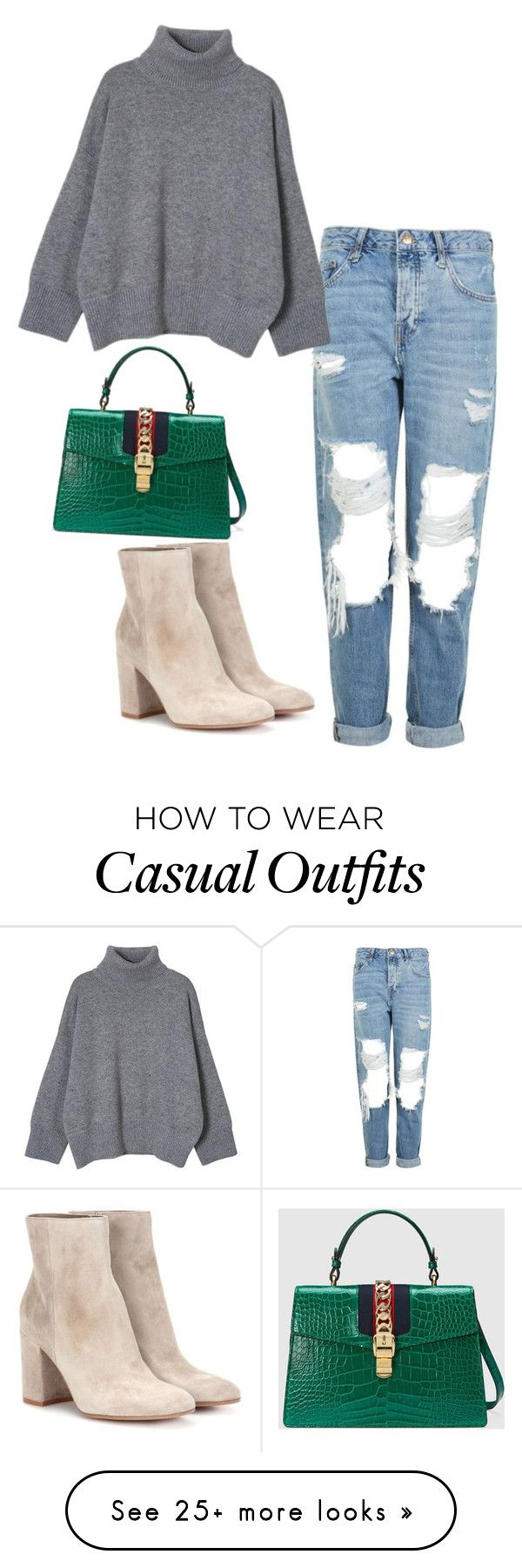 """Casual"" by ivanabeauchamp on Polyvore featuring Topshop, Gianvito Rossi and Gucci"