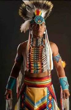 This photo shows a young adult male Native American, wearing ceremonial clothing. This clothing, in past times, was also used in battles. The paintings and design all have significant meanings to the outfit. The headdress is a very elegant part, and shows the tradition of Native American culture.