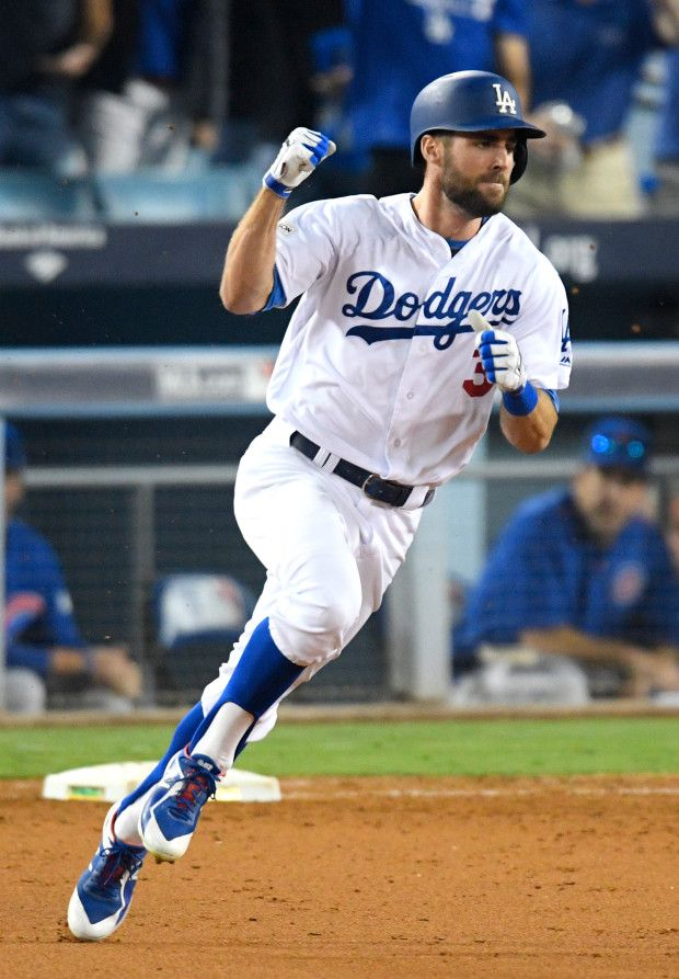 a025bf798 October 14, 2017: NLCS GAME 1 - Los Angeles Dodgers defeat the Chicago Cubs  5-2. Los Angeles Dodgers center fielder Chris Taylor #3, rounding 1st base,  ...