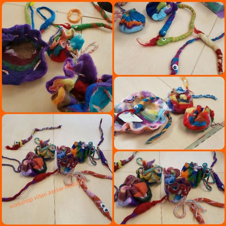 Viltworkshop Atelier Naaiz11 maken van slang, buidel en armbandjes