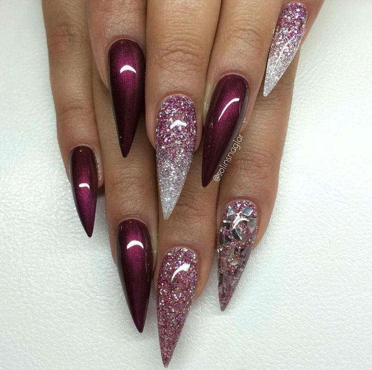 Mahogany glitter stiletto nails