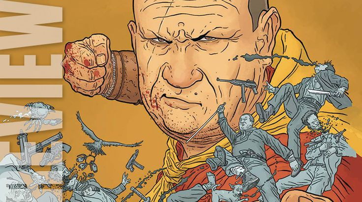 Shaolin Cowboys Surf and Turf Battle  Leave it to Geoff Darrow to begin a new issue (and a new series) with a trio of talking vultures. The triad is circling the remains of a huge battle to find their next meal. And they provide the most intelligent dialogue in the book.  Shaolin Cowboys latest battle which nearly left him for dead provides the backdrop for the vultures discussion of physiognomy smorgasbords and cholesterol. Seeing a dead Asian combatant one of the vultures declares It looks…