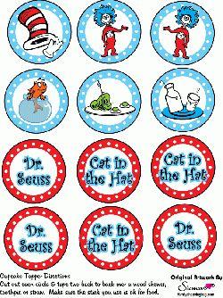 Free Printable Dr Seuss Cupcake Toppers