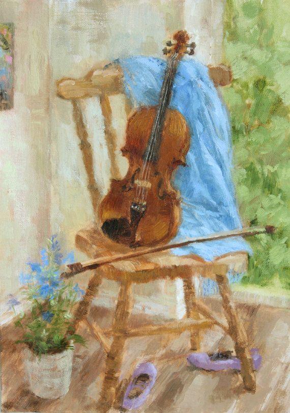 Original Oil Painting Still Life Violin Music Blue Flowers